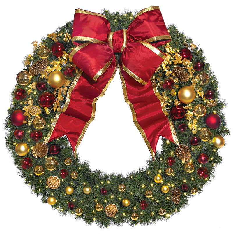 Pre-Decorated Traditional Commercial Christmas Wreath