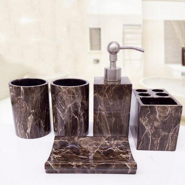 Marble Resin Bathroom Accessories Set