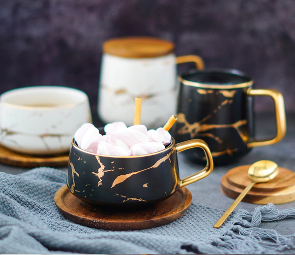 Matte Marble With Gold Ceramic Notes Tea & Coffee Collection