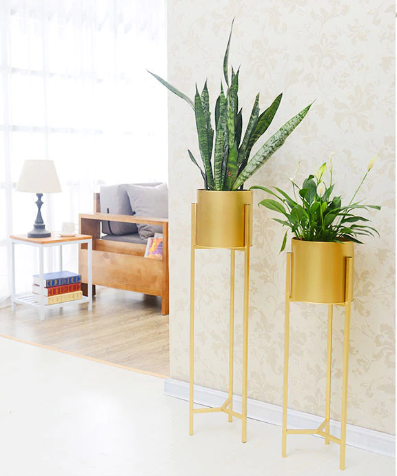 Gilded Potted Plant Stand Two Set
