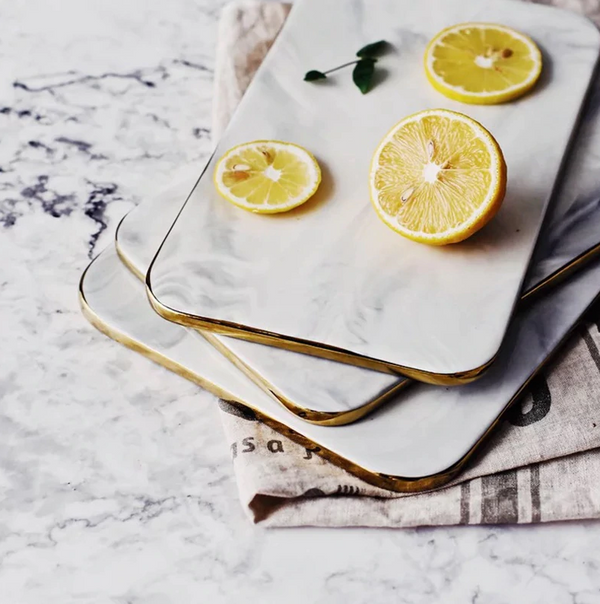 Gold Trimmed Extra Thick Marble Chopping Board