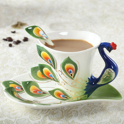 Ceramic Peacock Coffee Cup
