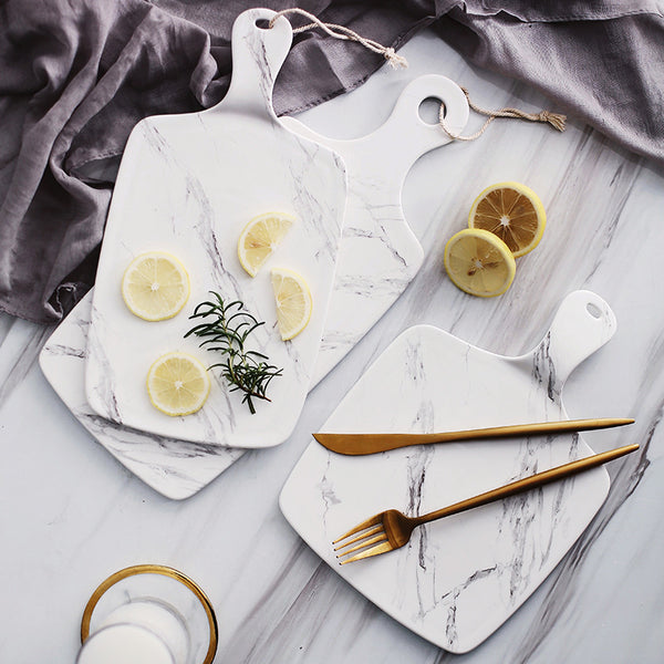 Gold Trimmed Thick Marble Cutting Board