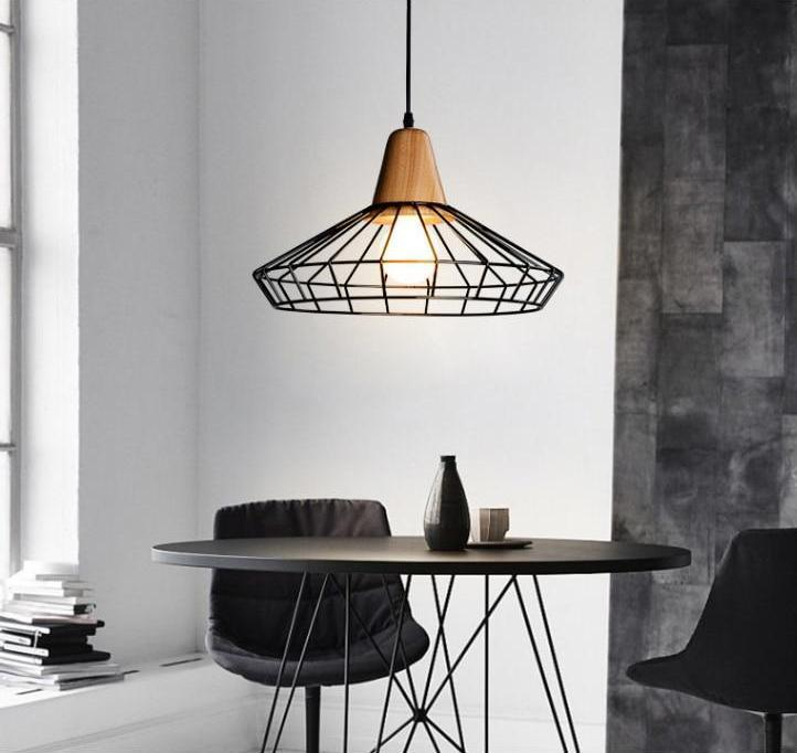 Wickley - Wrought Iron Hanging Cage Pendant Light
