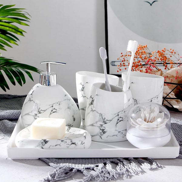 Ceramic Marble Bathroom Accessories Set