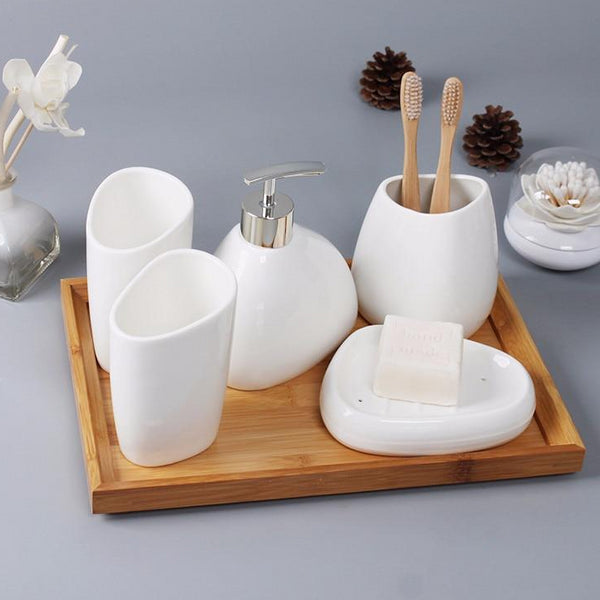 Minimal Porcelain Bathroom Accessories Set