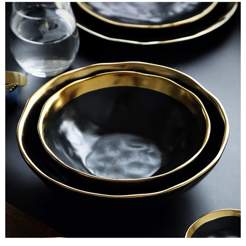 Pearl Of The Sea - Onyx Reflective Bowl With Golden Trim