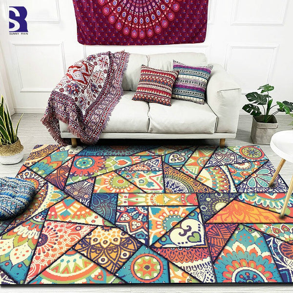 Fractal Stained Glass Style Rug