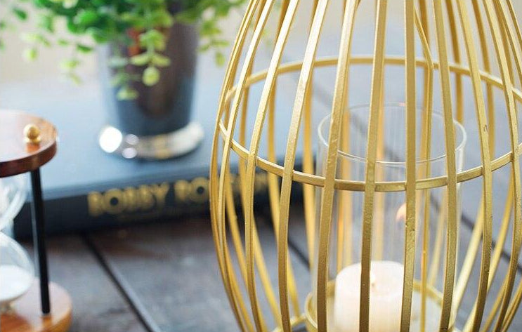 Gilded Wrought Iron Geometric Candle Holder