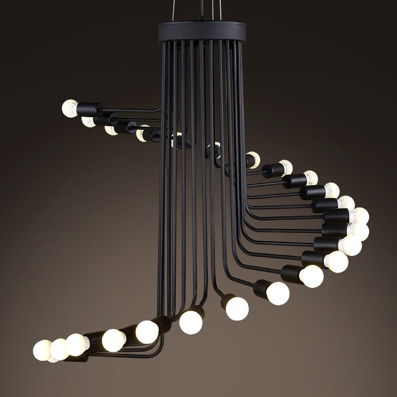 Retro Wrought Iron Spiral Chandelier