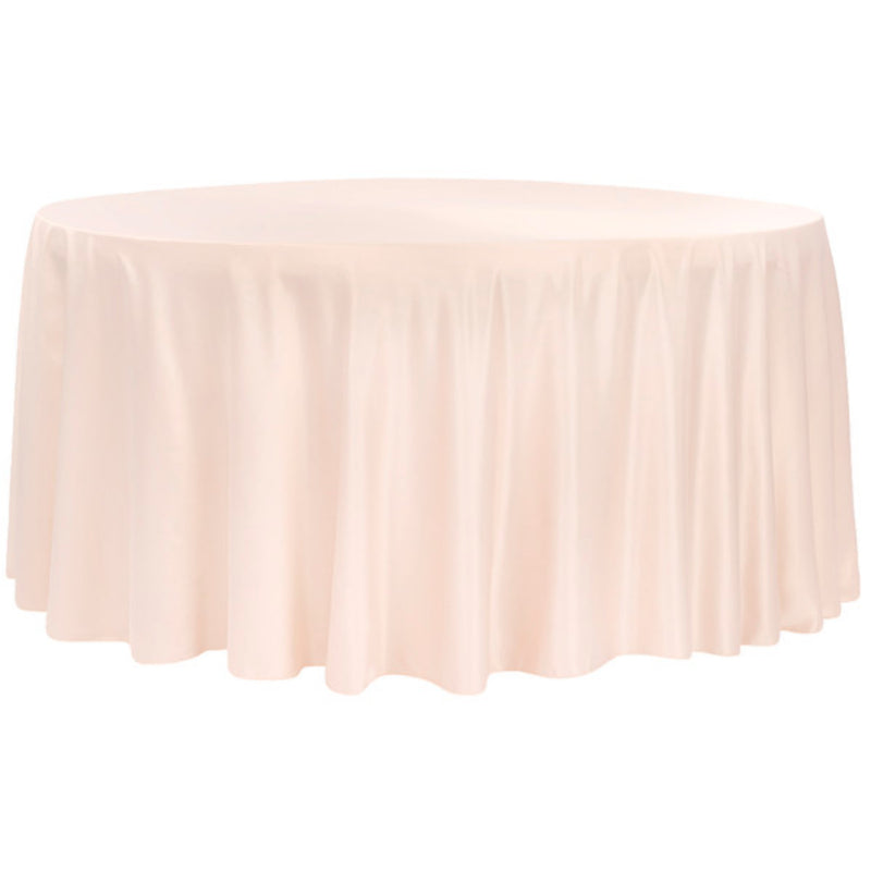 "120""Round Lamour Satin Tablecloth - Blush"