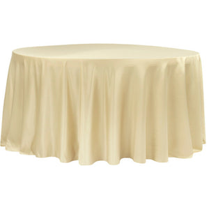 "120""Round Lamour Satin Tablecloth - Champagne"
