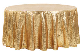 Round Sequin Tablecloth - Gold