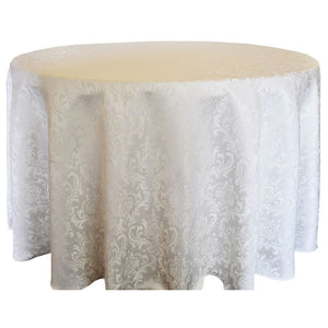 "120"" Polyester Damask Tablecloth - Ivory"