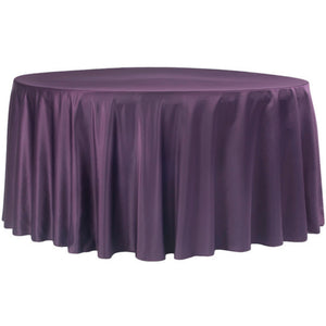 "120"" Round Lamour Satin Tablecloth - Plum"