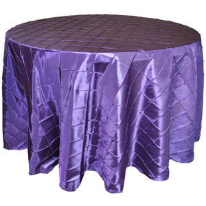 "120"" Round Pintuk Tablecloth - Royal Purple"