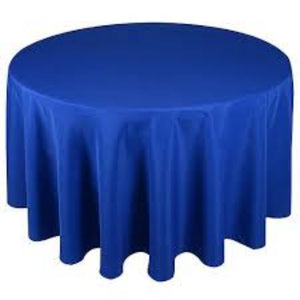 "120"" Round Lamour Satin Tablecloth - Royal Blue"
