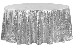 Round Sequin Tablecloth - Silver