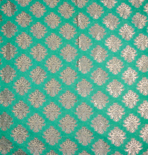 Green with gold print drape panel for backdrops