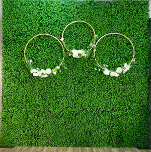 Green Hedge Wall Backdrop with Floral Loops