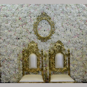 Ivory Floral Wall Backdrop with Venetian Mirror Frame