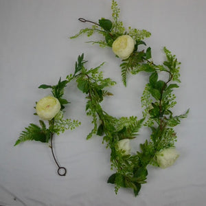 Ivory and Green Floral Vine