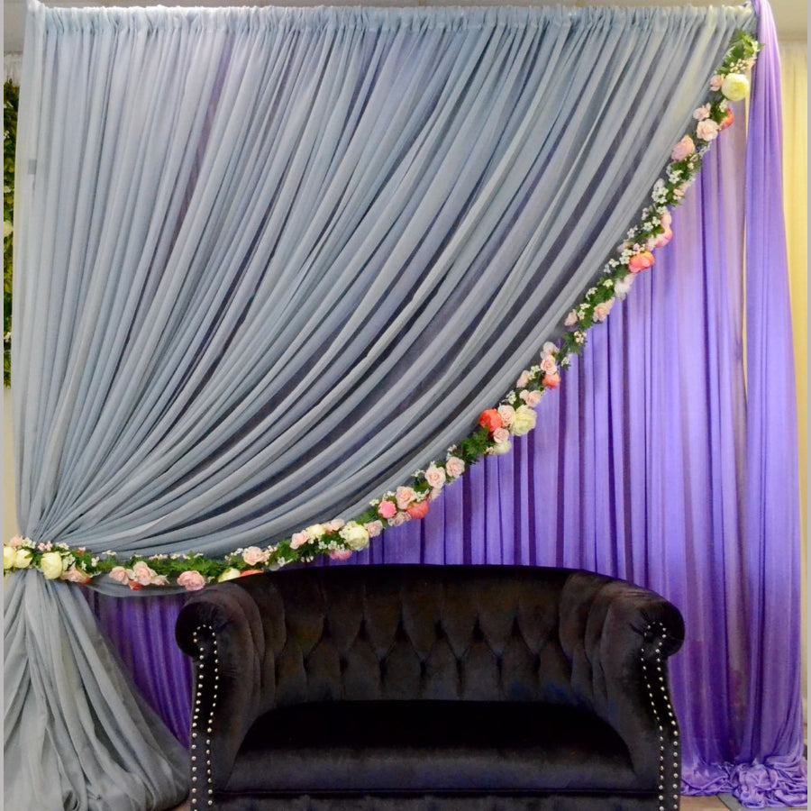 Grey and Lilac with floral Edge backdrop