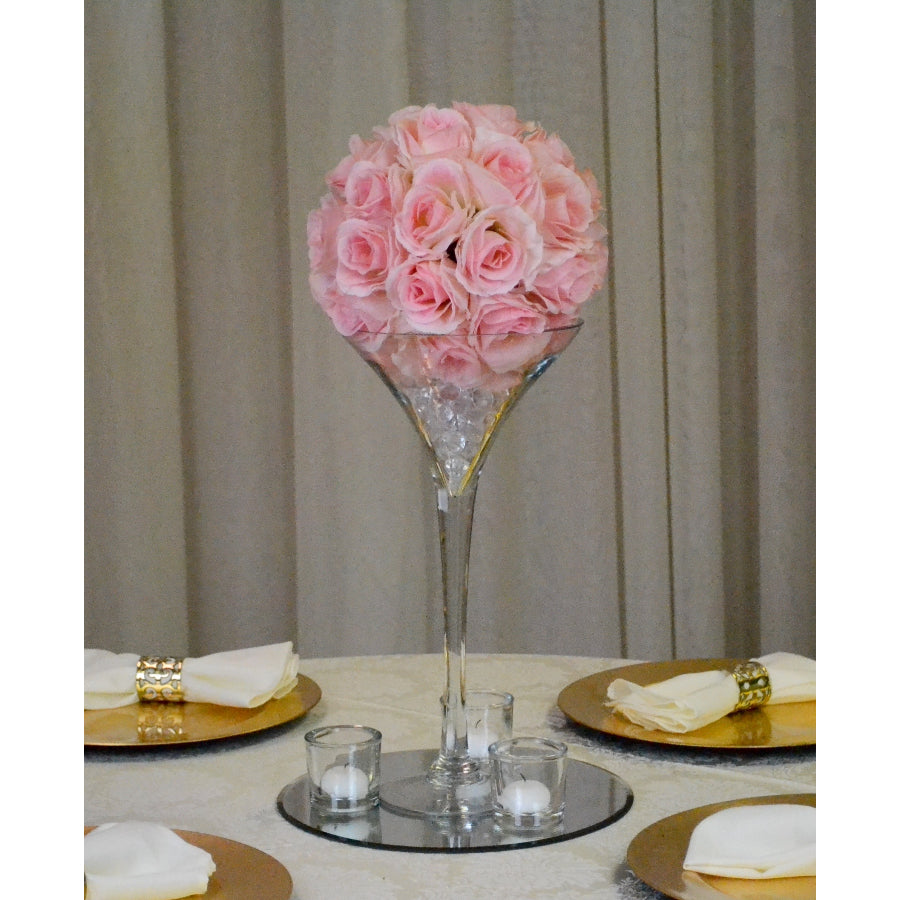 Rose Ball on Martini Centrepiece