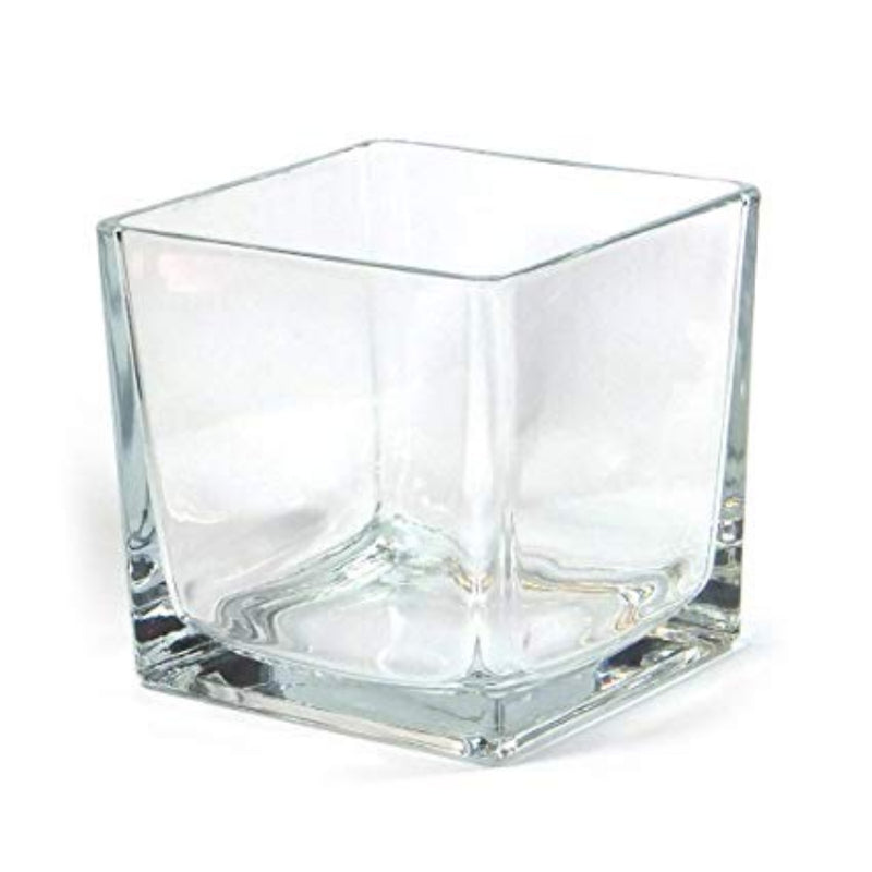 Glass cube vase for centrepieces