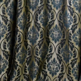 Teal & Gold Damask drape panel for baxkdrops