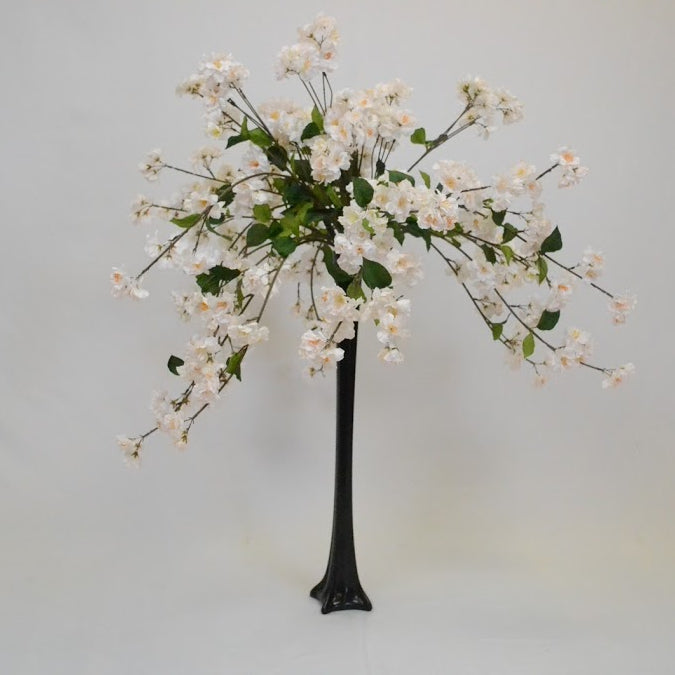 White Flower Bush in Black Eiffel Tower Vase