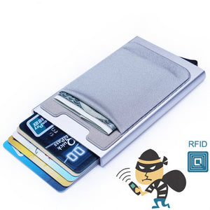 Aluminum Wallet With Elasticity Back Pocket ID Card Holder Rfid Blocking Mini Slim Wallet Automatic Pop up Credit Card Case Box