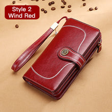 Load image into Gallery viewer, Hot Sale Women Clutch Leather Wallet Female Long Wallet Women Zipper Purse Strap Money Bag Purse For iPhone 7 5162-71
