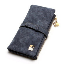 Load image into Gallery viewer, 2019 New Fashion Women Wallets Drawstring Nubuck Leather Zipper Wallet Women's Long Design Purse Two Fold More Color Clutch