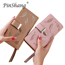 Load image into Gallery viewer, Women Wallet PU Leather Purse Female Long Wallet Gold Hollow Leaves Pouch Handbag For Women Coin Purse Card Holders Clutch zk30