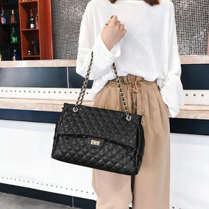 Casual PU Leather Chain Large Shoulder Bag Women Lattice Messenger Handbags High Quality Hotsale Ladies Party Purse 2019 New