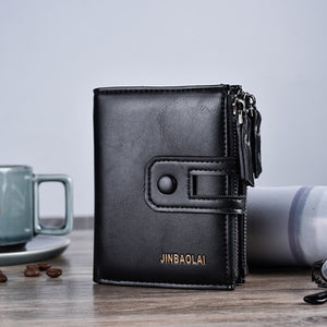 Men Wallet Brand Wallet Double Zipper&Hasp Design Small Wallet  Male High Quality Short Card Holder Coin Purse Carteira