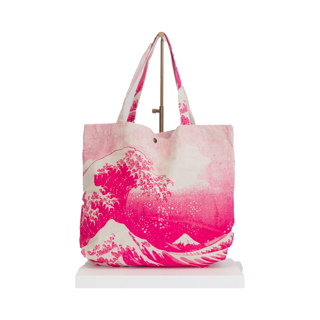 canvas beach bag pink wave Japanese