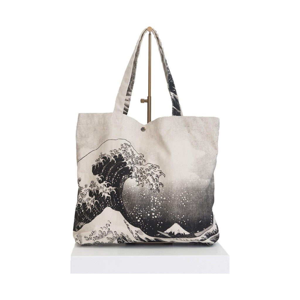 canvas beach bag black Japanese wave
