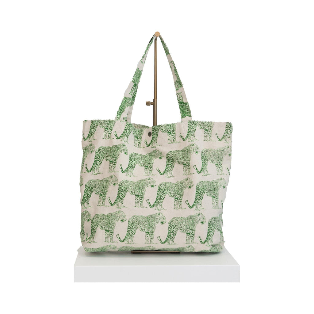 canvas beach bag green tiger print