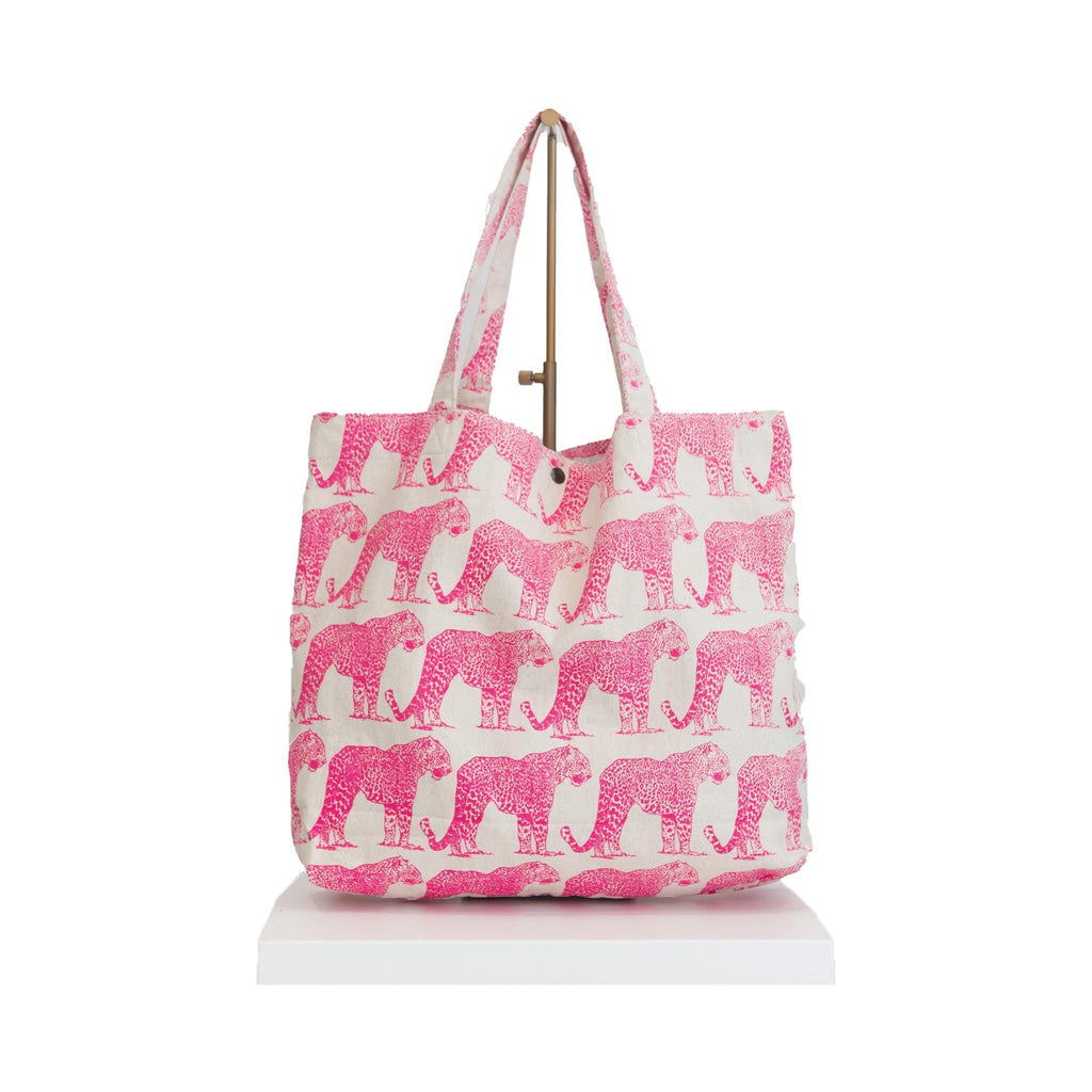 canvas beach bag pink tiger print