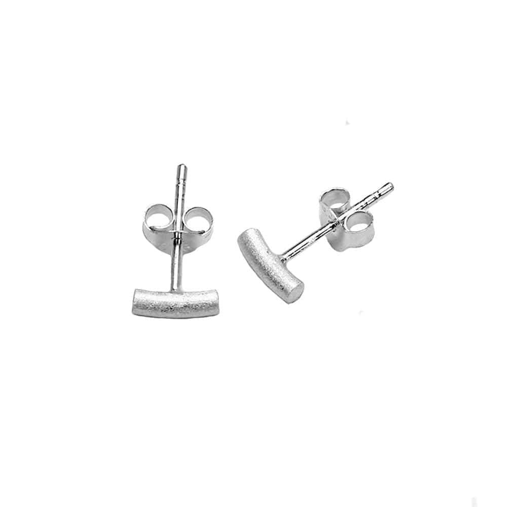 Matt Silver Rod Stud Earring