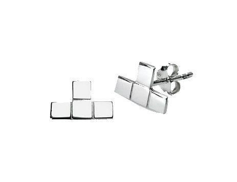 Silver Plated Tetris T Stud Earrings