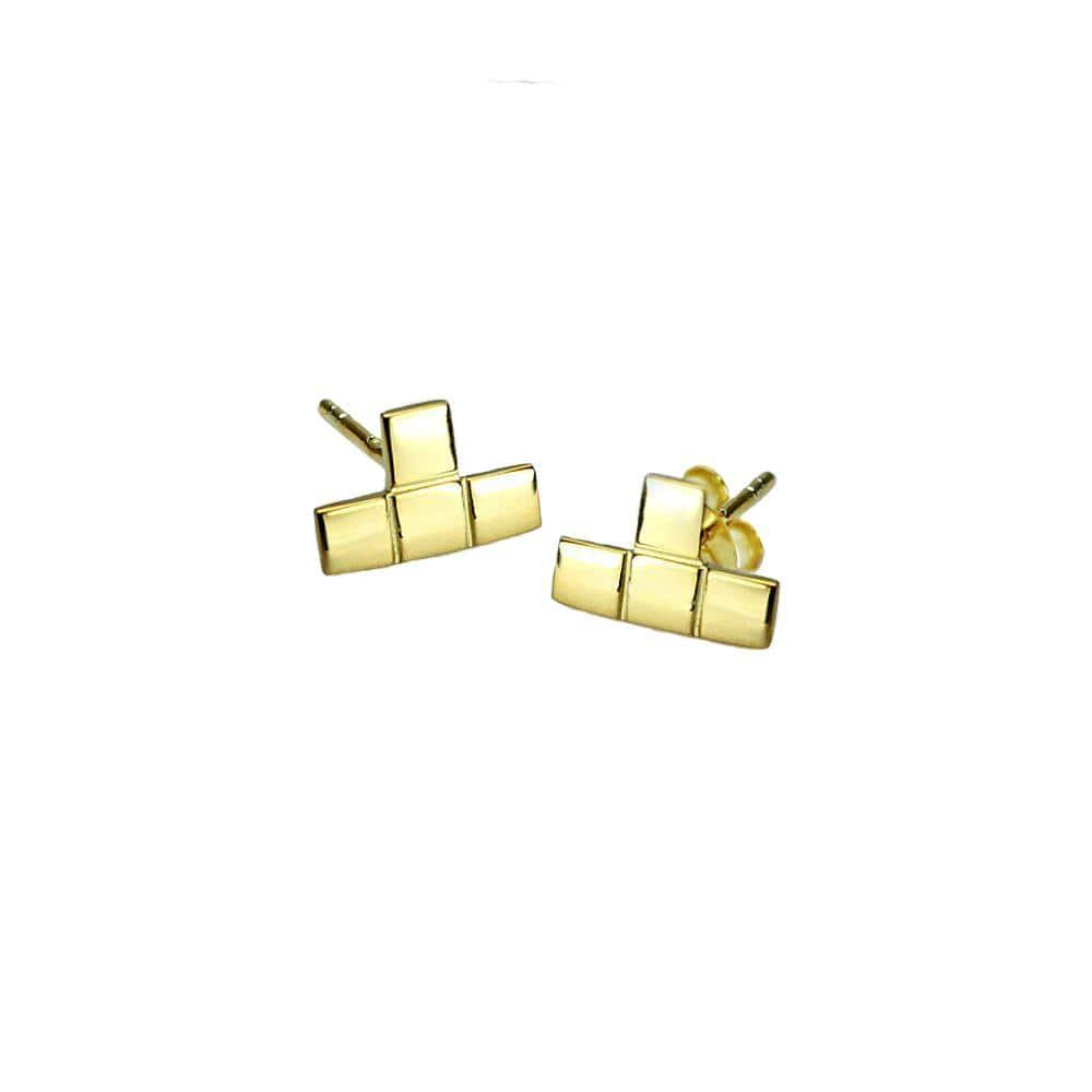 Gold Plated Tetris T Stud Earrings