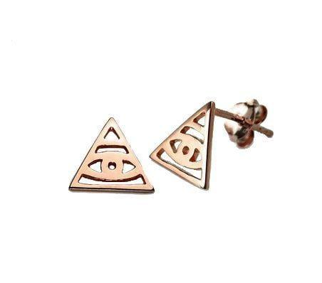 Pink Rose Gold Plated Illuminati Stud Earring