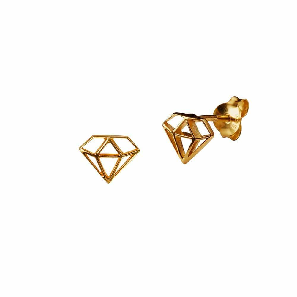 Gold Plated Big Diamond Stud Earring