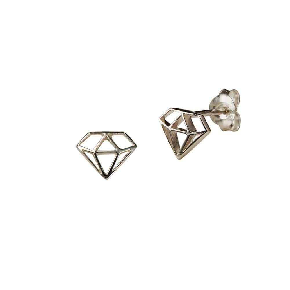 Silver Diamond Stud Earring
