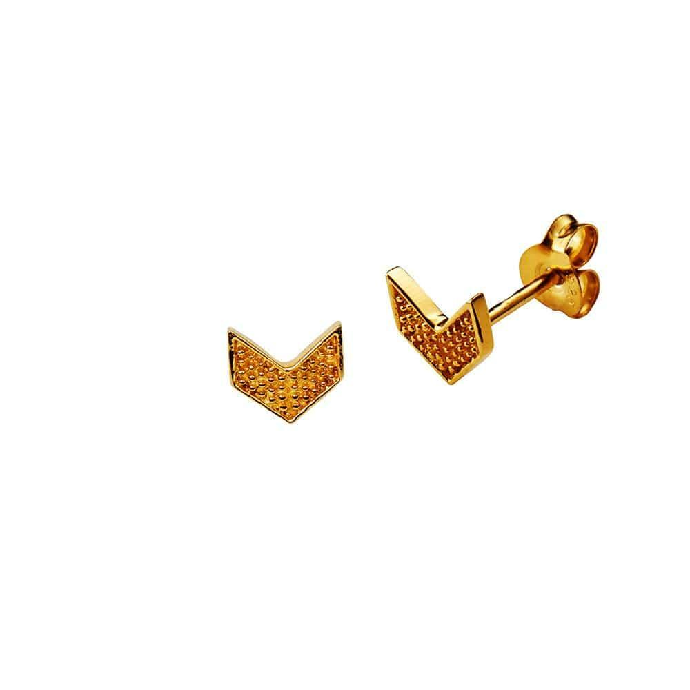 Gold Plated Wing Stud Earring