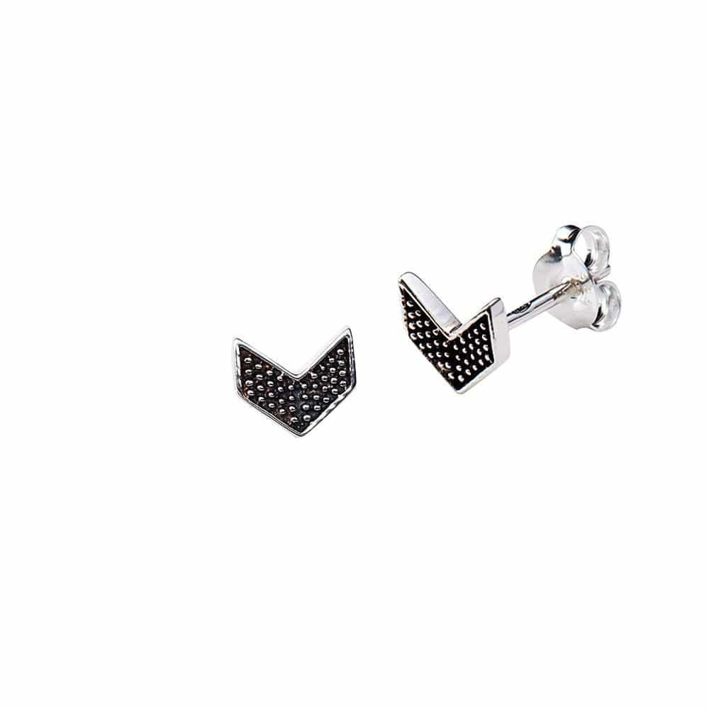 Black Silver Plated Wing Stud Earrings
