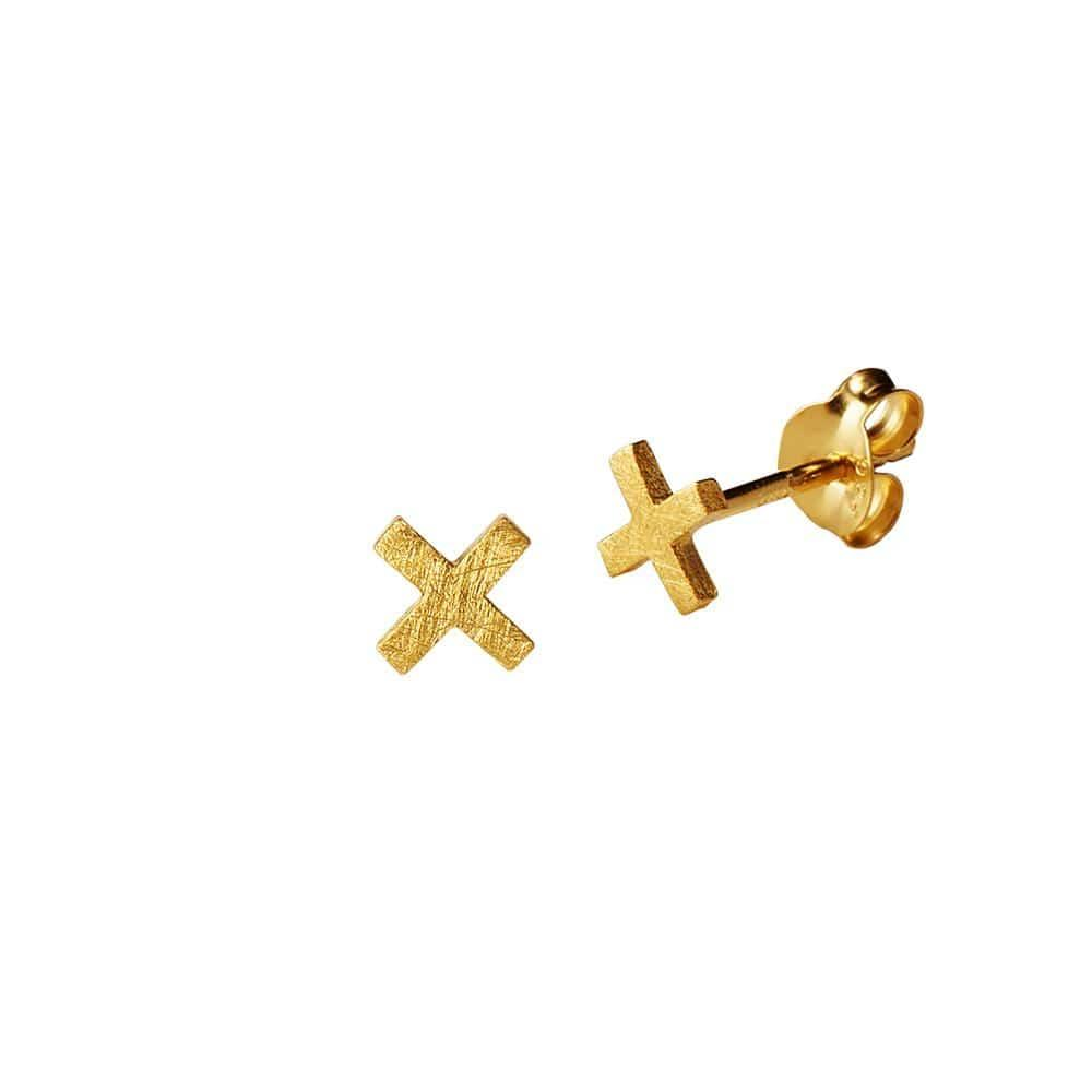 Matt Gold Plated Cross Stud Earring